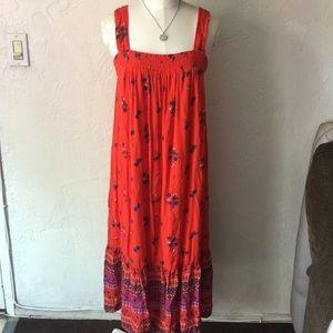 Old Navy maxi orange floral print dress
